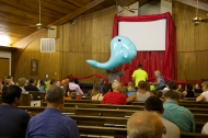 We gave away inflatable toys, and the whale was the grand prize!